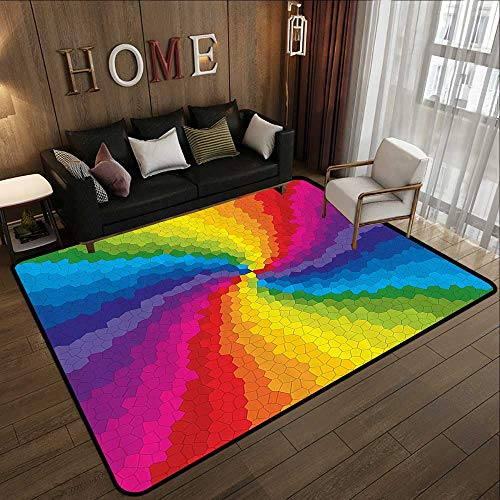 (Truck mats,Colorful,Stained Glass Design in Rainbow Colors Burst Effect Abstract Mosaic Swirls Artwork,Multicolor 47