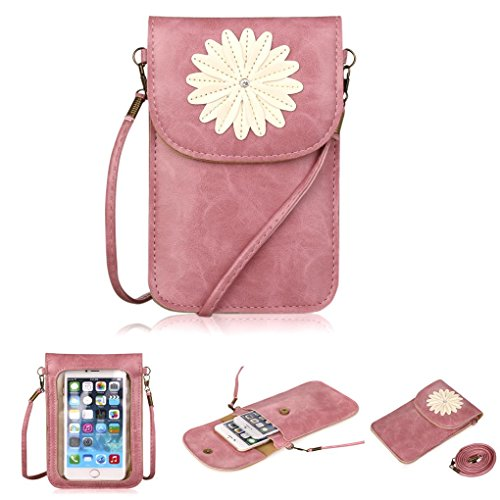 (Fashion Flower Design Cute Purse WaitingU PU Leather Touch Screen Cell Phone Case Multipurpose Two Separated Pouches Crossbody Shoulder Bag Detachable Strap for iPhone Samsung Under 5.5''- Pink)