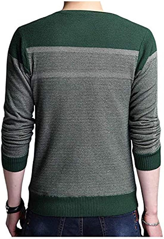 Męski sweter z dzianiny sweter z V Fashion jesień wiosna wycięcie eleganckie długi rękaw sweter dziergany: Odzież