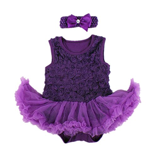 Starkma 2Pc/lot Newborn Infant Baby Girl Set Christmas Clothes B16 Purple L (Girls Dress Crocheted)