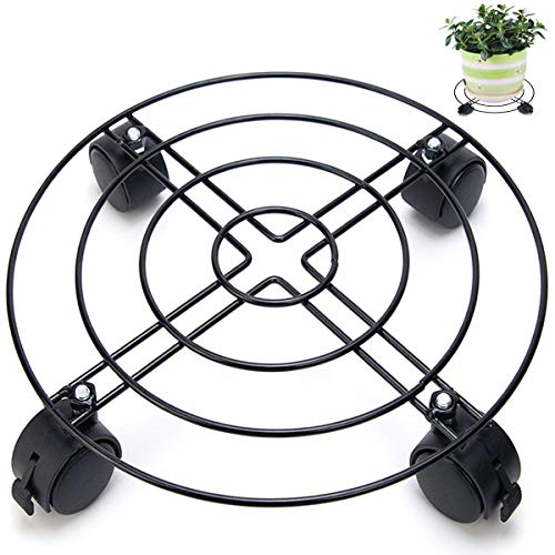 """Chris.W 2Pack 10"""" Metal Plant Caddy, Iron Potted Plant Stand with Wheels, Round Flower Pot Rack on Rollers Dolly Holder Indoor Outdoor Planter Trolley Casters Rolling Tray Coaster"""
