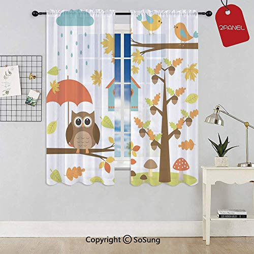 Cartoon Art Print for Kids Toddlers Owl Birds Nest Fall Acorn Maple Tree Funny Umbrella Mushroom Decorative Rod Pocket Sheer Voile Window Curtain Panels for Kids Room,Kitchen,Living Room & Bedroom,2 P