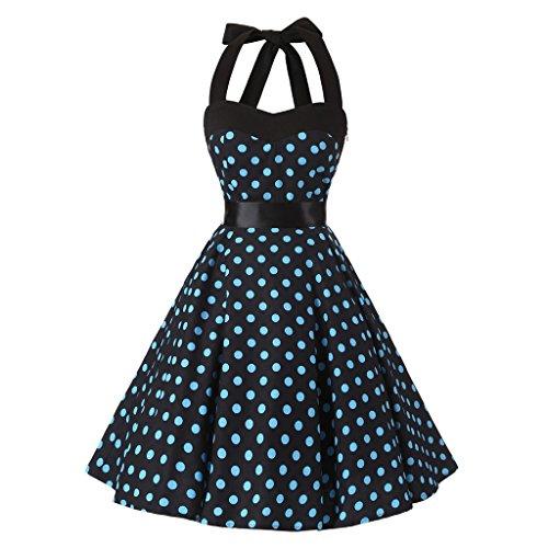 M&A Vestido Corto Retro Mujer Verano Sin Mangas Multidiseños Azul mancha negro