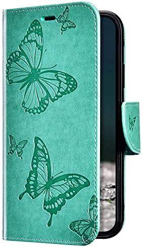 Uposao Kompatibel mit iPhone 11 Hülle Vintage Dünne Handyhülle Schmetterling Muster Flip Brieftasche Schutzhülle Karte Halter Leder Hülle Case Ledertasche Ständer Klapphülle,Grün