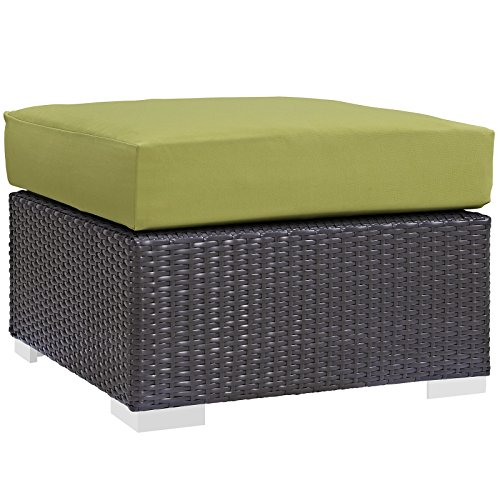 Modway Convene Wicker Rattan Outdoor Patio Square Ottoman in Espresso Peridot ()