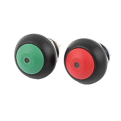sourcingmap® 2pcs rouge vert lumineux 12mm Fileétiquettes 4 broches Interrupteur à bouton-poussoir momentané SPST
