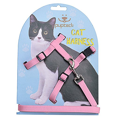 - PUPTECK Adjustable Cat Harness Nylon Strap Collar with Leash Pink
