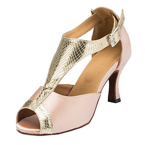Tda Donna T-strap Tacco Alto Raso Latino Moderno Salsa Tango Ballroom Scarpe Da Ballo Di Nozze Beige