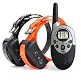 PetSpy 1100 Yard Waterproof Rechargeable Remote Training Dog Collar with Beep - Vibration and Electric Shock for 2 Dogs