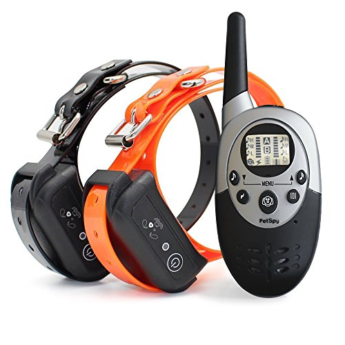 PetSpy 1100 Yard Waterproof Rechargeable Remote Training Dog Collar with Beep, Vibration and Electric Shock for 2 Dogs by PetSpy