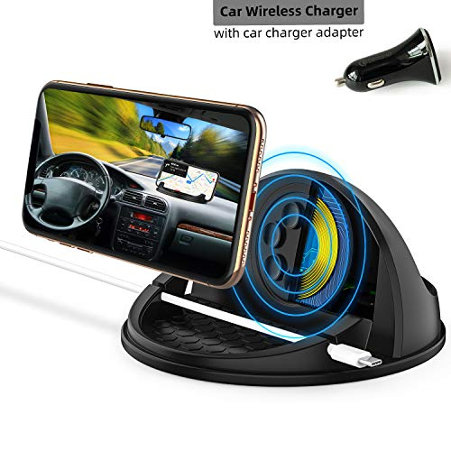 Wireless Car Charger Mount,Qi-Certified Car Wireless Charging Stand Compatible with iPhone X/XS Max/XR/8/Samsung Galaxy S9 / S10/,Silicone Car Phone Holder Dashboard Desk (QC3.0 Car Charger)