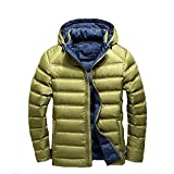 YANXH Winter The New Men Down Jacket Light And Thin Short Section Hooded Coat , ArmyGreen , M