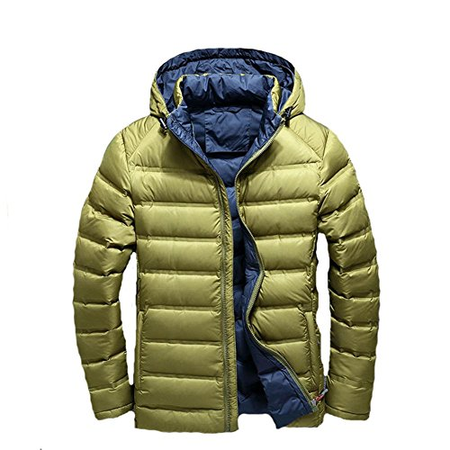 YANXH Winter The New Men Down Jacket Light And Thin Short Section Hooded Coat , ArmyGreen , M by YANXH outdoors