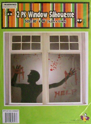 2pk Man with Help in Blood Window Silhouette