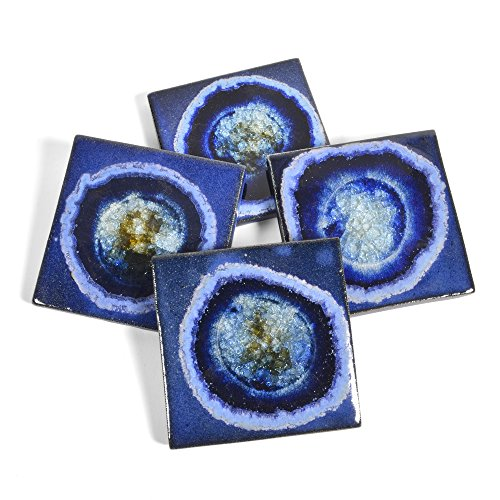 Dock 6 Pottery Coasters with Fused Glass, Cobalt, Set of 4 from Dock 6 Pottery