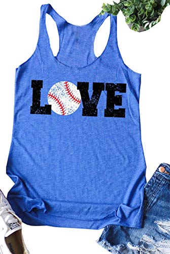 (Baseball Mom Love Graphic Tank Racerback Tops Women's Letter Print Mama Vest T Shirt Casual Camis Tees Size L (Blue))