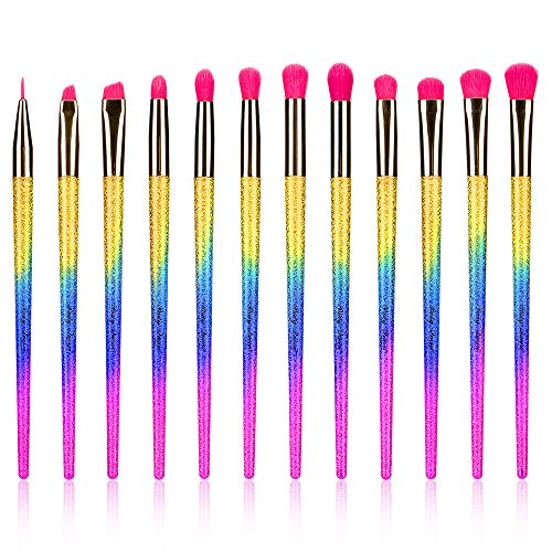 Party Queen Makeup Brushes Set 12 Pieces Eyeshadow Eyeliner EyeBrow Shader Lip Professional Eye Makeup Kit Cosmetic Tools