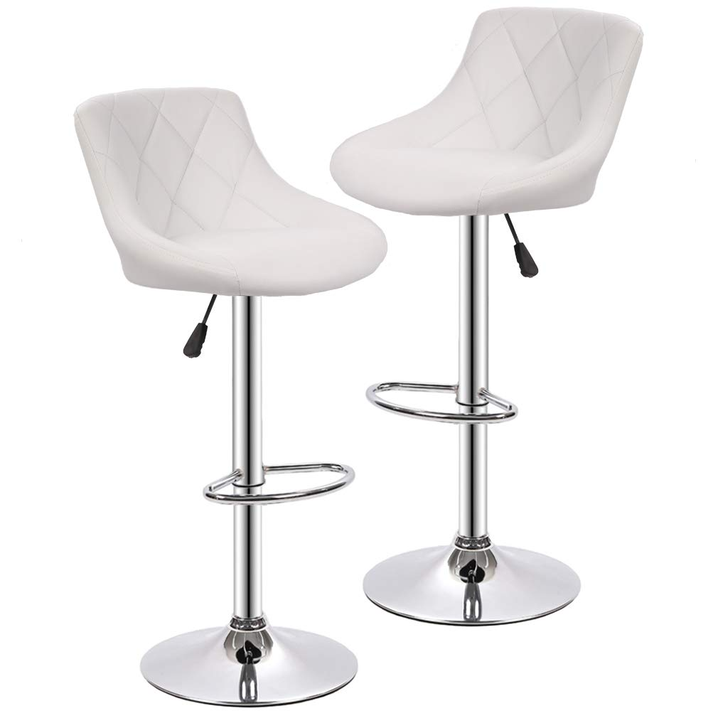 BestOffice Counter Height Bar Stools Set of 2 Swivel Stool Barstools Height Adjustable Bar Chairs with Back PU Leather Swivel Bar Stool Kitchen Counter Stools Dining Chairs
