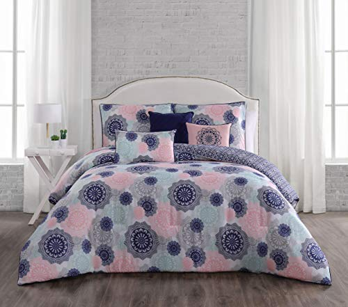 Geneva Home Fashion Lorna 6pc Reversible Throw Pillows Comforter Set, Queen, Navy/Blush (Bedding And Navy Blush)