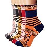 Rioriva Womens Casual Cotton Short Crew Socks,US 5-9/EU 35.5-40,WSK14-snowflake