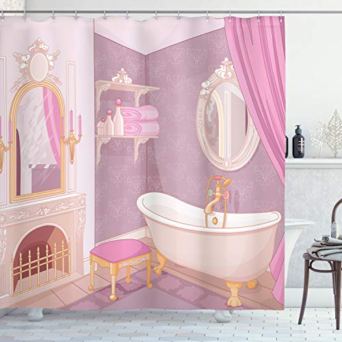 Ambesonne Teen Girls Decor Collection, Fancy Bathroom in The Palace of The - Mirrors Bathroom Drape