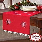 Aytai 16 x 72 Inch Christmas Table Runner Embroidered Table Runner Red Table Linens for Christmas Decorations