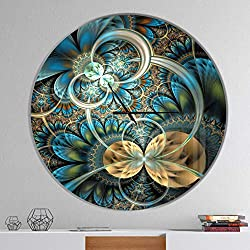 Designart Symmetrical Blue Gold Fractal Flower' Oversized Modern Metal Clock, Circle Wall Decoration Art, 38x38 Inches