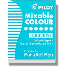 Pilot Parallel Pen Ink Refills for Calligraphy Pens, Turquoise, 6 Cartridges Per Pack -77311