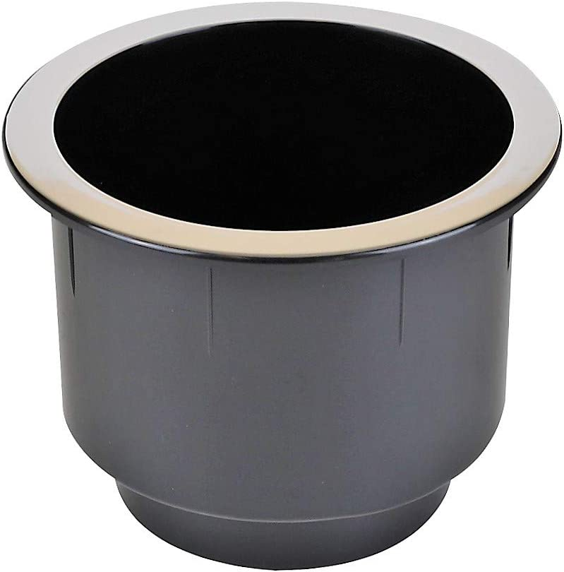 ProFurnitureParts Black Plastic Cup Holder W/Chrome Rim for Sofa Recliner Boat RV Patio Poker Table Car Truck or Anything! (2)