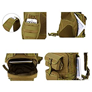 X-Freedom Military Tactical Daypack Chest Pack Bag Molle Ipad Shoulder Bag Sports Motorcycle Ride Bicycle Bag, Dark Brown