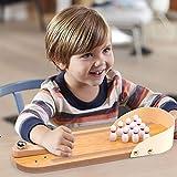 MorTime Mini Bowling Game, Mini Wooden Desktop