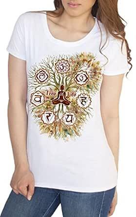 Irony Camiseta de Mujer Árbol de la Vida Buda Yoga Meditación Chakra Símbolos TS1423