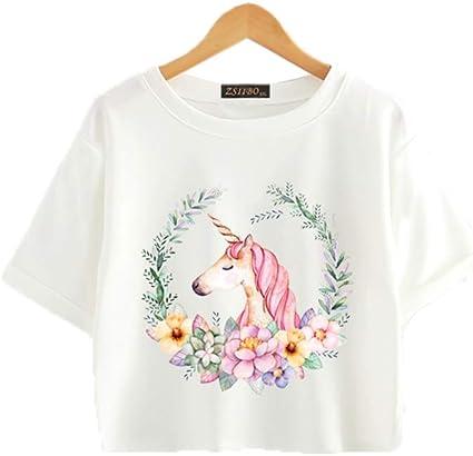 Guirnalda De Las Mujeres Unicornio Camiseta De La ImpresióN del Verano O Cuello Manga Corta Simple Street Breeze Coreano A Rayas Tops Ropa De La Cosecha: Amazon.es: Ropa y accesorios