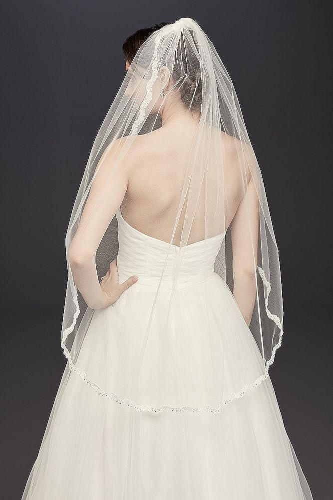 Thin Lace Rhinestone Border Mid Veil Style V514MID White David/'s Bridal 10405221
