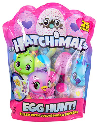Happy Easter Gift - Hatchimals Easter Egg Hunt Eggs Filled with Jelly Beans and Stickers, 25 Count