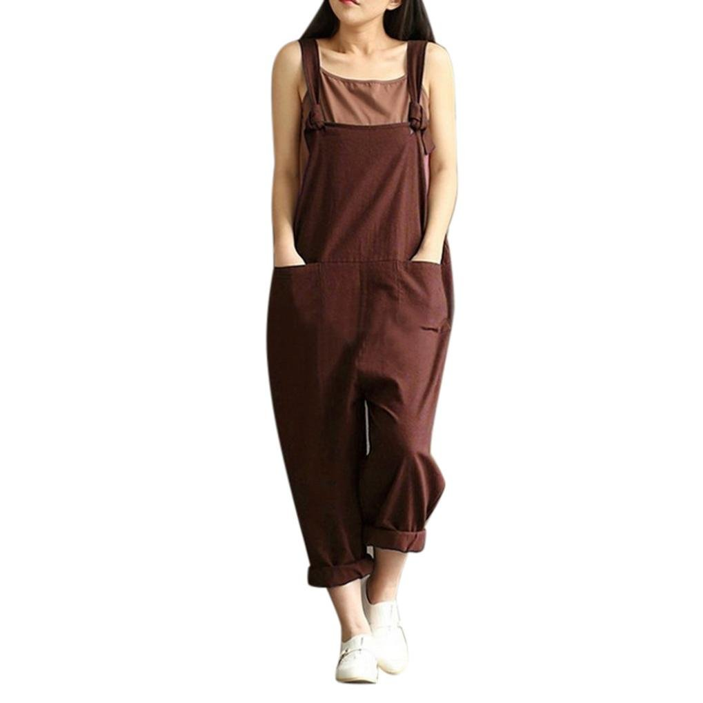 Womens Cotton Retro Overalls Baggy Strap Sleeveless Jumpsuits Casual Loose Wide Leg Dungarees Rompers Loose Sleeveless Long Playsuit Dungarees