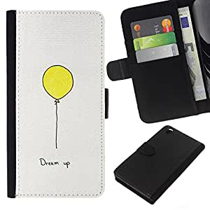 KLONGSHOP // Tirón de la caja Cartera de cuero con ranuras para tarjetas - Texto motivación inspiradora Globo Amarillo - HTC DESIRE 816 //