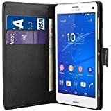 SONY XPERIA Z3 COMPACT BLACK PLAIN PU LEATHER WALLET FLIP CASE COVER AND FREE SCREEN PROTECTOR FROM GADGET BOXX