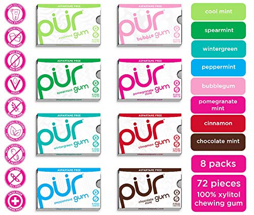 PUR 100% Xylitol Chewing Gum, Variety Pack, 9 Pieces per Pack (Pack of 8) Sugar-Free + Aspartame Free, Vegan + non GMO