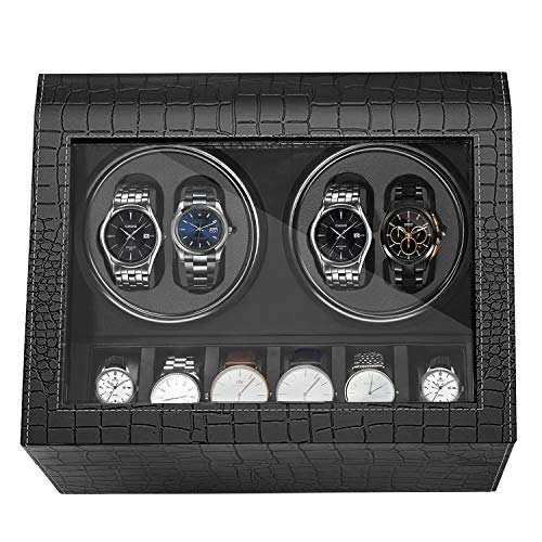 MerLerner Automatic Watch Winder Collector with 4 Wooden Watch Winder + 6 Display Storage Spaces for All (Crocodile PU Leather Deigns Luxury Black)