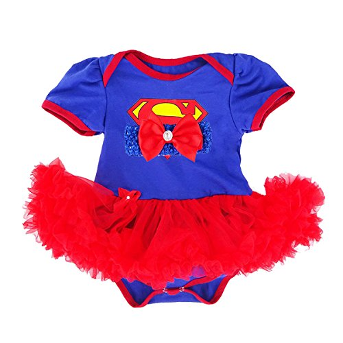 Super Girl Outfit (Laudmu Baby Girl Supergirl Romper Dress,Headband Clothe set (S(0-3month)))