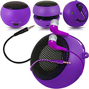 Fone-Case Verizon Ellipsis 7 Mini Capsule Rechargable Loud Speaker 3.5mm Jack To Jack Input & In Ear Earbud Earphones (Purple)