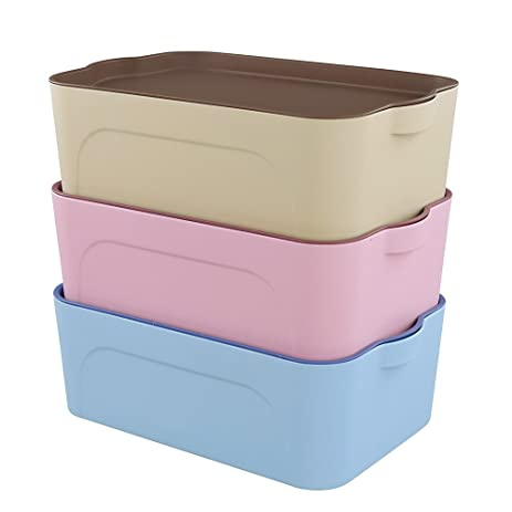 Cand 8 Quart Heavy Duty Small Lidded Storage Boxes, Set Of 3