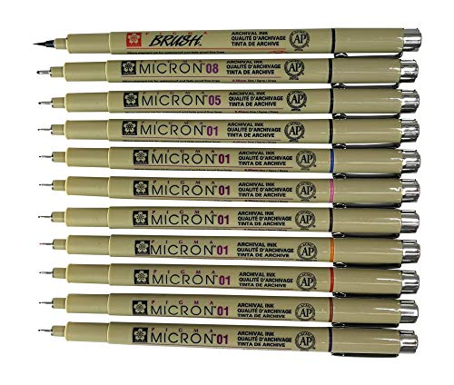 Sakura Pigma Micron Artist pens 12 Fineliner Archival Ink Black & Colors, 8 Assorted Colors with 4 Black (01, 05, 08, Brush Pen) by Sakura
