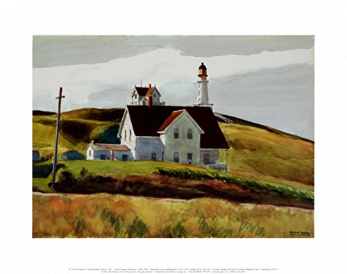 Hill and Houses Cape Elizabeth Maine Art Print by Edward Hopper 14 x 11in