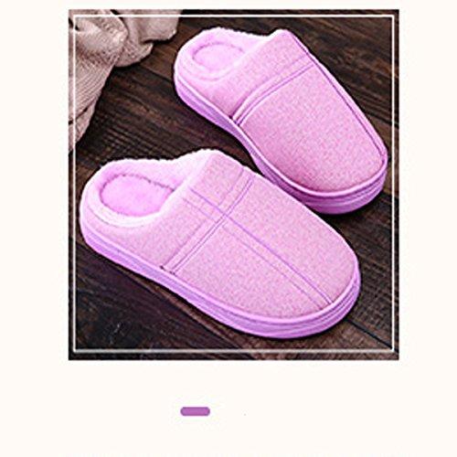 Chaud Épais Maison Cuir Green Purple Couples En Hiver En Mâle PU Pantoufles Pantoufles Coton Hiver Avec Mois Femmes L'eau Intérieur Sur gPvqxw1