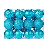Gbell 24Pcs 30 mm Christmas Xmas Tree Ball Bauble Hanging Home Party Ornament Decor,Blue,Gold,Green,Hot Pink,Orange,Pink,Purple,Red,Sky Blue,Silver Assorted Color