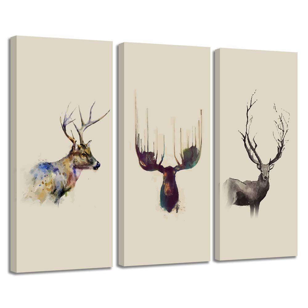 """VIIVEI Elk Deer Cabin Decor Canvas Prints Wall Art Picture Vintage Painting Poster Home Decor for Bedroom Living Room Office Framed Ready to Hang (10""""x24""""x3pcs, Rustic Elk)"""