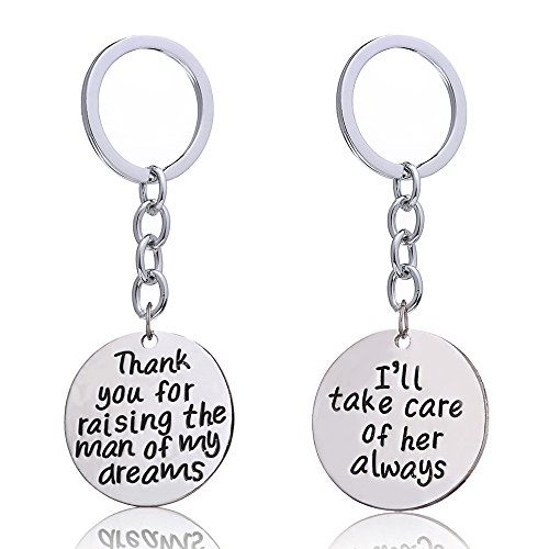 2pcs Wedding Gift Key Chain Thank You for Raising the Man/I Will Take Care of Her for Groom Bride Parents (Wedding You Thank Keychains)