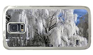 Hipster cute Samsung Galaxy S5 Cases snow tree winter PC Transparent for Samsung S5